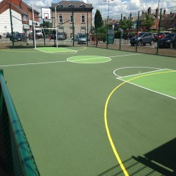 Line Marking Basketball Surfaces in Black Muir 2