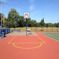 Line Marking Basketball Surfaces in Black Muir 9