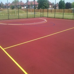 Line Marking Basketball Surfaces in Black Muir 5