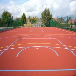 Line Marking Basketball Surfaces in Black Muir 11